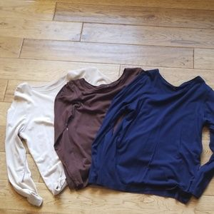 3 lightweight long sleeve T Shirts